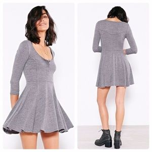 BDG Knit Gray Sally Henley Swing Dress- Medium